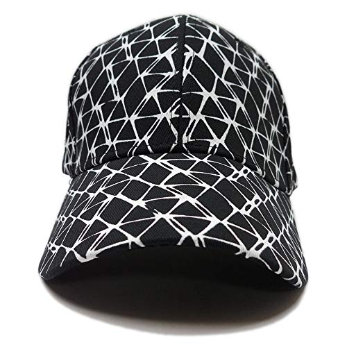 キャップ 網目模様 ネット柄 モノトーン 白黒 シンプル 幾何学模様 ジオメトリック ベースボール 帽子 ベルト お揃い ペア アメカジ カジュアル 男女兼用 ユニセックス (ブラック)
