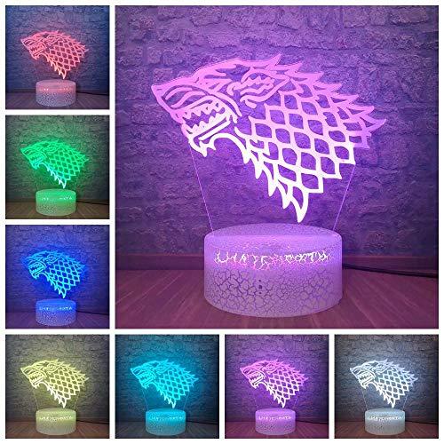 3D Illusion Lampe Led Veilleuse House Stark Game Of Thrones Loup Acrylique Chevet Touch Sensor 7 Changement De Couleur Ara Kid Cadeau D'Anniversaire