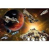 GREAT ART XXL Poster Kinderzimmer – Galaxy Adventure – Wandbild Dekoration Raumfahrt Mission Shuttle Science Fiction Raumschiff Weltraum All Stern Wandposter Fotoposter Wanddeko(140 x 100 cm)