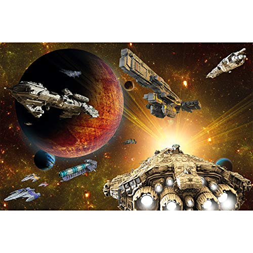 GREAT ART Fototapete Galaxy Abenteuer 210 x 140 cm – Raumschiff Mission Science-Fiction Planeten Sterne Space-Shuttle Kinderzimmer Kindertapete – 5 Teile Tapete inklusive Kleister