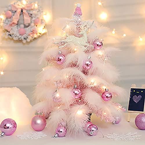 DADEA Árbol de Navidad de mesa con luces, mini árbol de Navidad de mesa, con luces LED, alce, bolas de adornos, la mejor decoración de Navidad