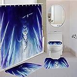 MQWEMJ Juego de 4 Cortinas de Ducha, Tigre Animal Blanco Azul con alfombras Antideslizantes, Tapa de Inodoro y Alfombrilla de baño, Cortina de Ducha, Tela Impermeable 150×180 cm