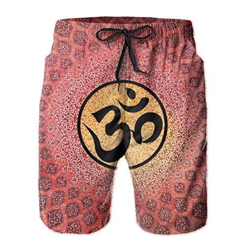 TYUO Pantalones cortos de playa para hombre, diseño de mandala, mantra y arcoíris