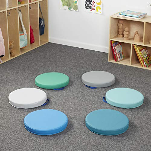 6-Piece - Contemporary SoftScape/™ 15 inch Round Floor Cushions with Handles for Flexible Seating Classrooms 2 inch Thick Deluxe Foam