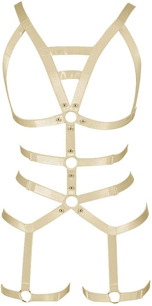 Full Cage for Women Body Harness Bar Garter Set Festival Rave Dance Photography Punk Gothic Belt Stretchy Fabric