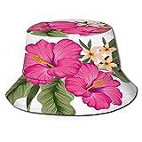 Yoliveya Sombrero de Pesca,Racimo de Flores de Hibisco Tropical con Hojas de la Selva,Senderismo para Hombres y Mujeres al Aire Libre Sombrero de Cubo Sombrero para el Sol