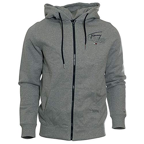 Tommy Jeans Herren Kapuzen-Sweatjacke Essential Graphic Zip Thru grau - L