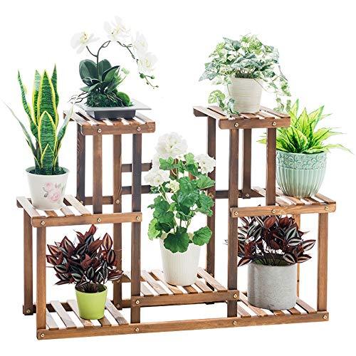 Présentoir de fleurs végétales multicouches Support à fleurs Support à plantes Multi étagères en bois Bonsaï Présentoir Intérieur Extérieur Jardin Cour Patio Balcon Multifonctionnel Support De Rangeme