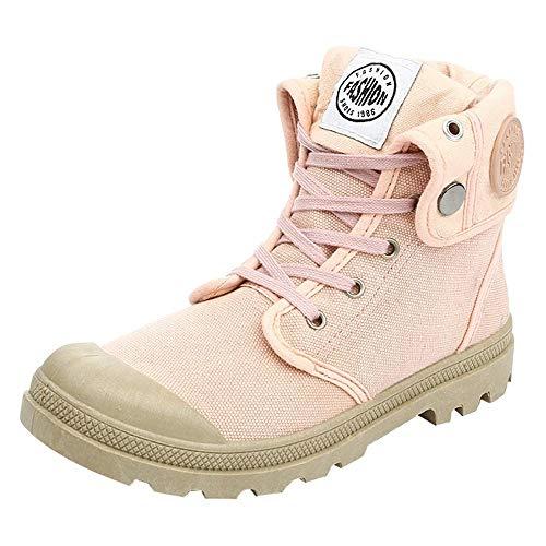 Bottes pour Dames d'hiver, Honestyi Banc Mode De Style Palladium Mode Haut de la Cheville Militaire Toile Occasionnelles Flasher Boot Palladium High-Top Bottines Cuir Femme Chaussures