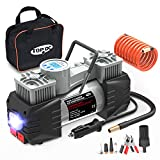 TOPDC Air Compressor Tire Inflator, 12V DC Dual Cylinder Digital Tire Inflator with LED Light for Car, Bicycle, Motorcycle, Basketball and Other