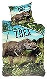 VonBueren Dino T-Rex - Juego de cama (135 x 200 cm, 100% algodón, cierre de cremallera)