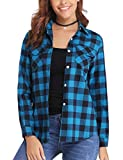 Aibrou Camisa Franela de Cuadros Mujer,Blusa Casual Camisas Clásica Manga Larga con Botones,Ropa de Trabajo de Equipo para Primavera Otoño Invierno (Azul, S)