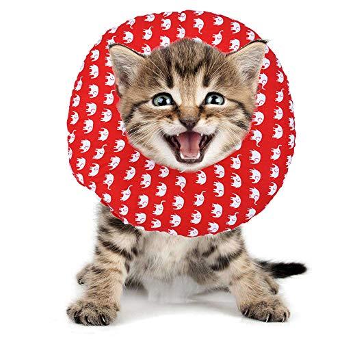 BVAGSS Haustier Halsband Einstellbarer schützender Rutschfester Baumwollring Protective E-Collar für Katze und Hund XH004 (M, Red Elephant)