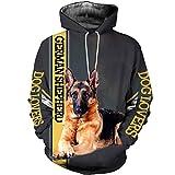 UNEMAIL Men Women German Shepherd Dog 3D Print Hoodies,Long Sleeve Sweatshirts Zipper Jacket Pullover Tracksuit Hoodies 6XL