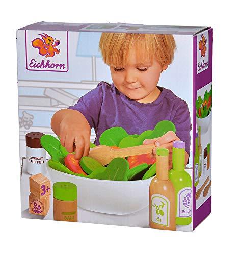 Eichhorn 100003738 - Salat Set mit Gemüse, Salz- und Pfefferstreuer, Essig und Ölflasche, Schüssel, 28-tlg., Eichenholz