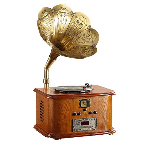 STG Gramophone Retro-Vintage antike großes Horn neues Holz Wohnzimmer europäischen klassischen Retro-Vinyl-Plattenspieler elektrische MLG56111