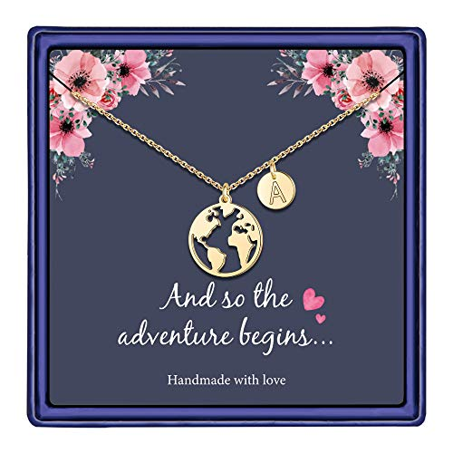 World Necklace for Women, 14K Gold Plated Earth World Map Necklace Girl Graduation Gift College High School Graduation Gifts for Her Disc Letter A Initial Necklace Travel Gifts Jewelry for Women
