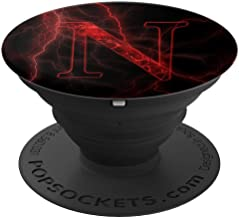 Red Lightning abstract Letter N Monogram on black PopSockets Grip and Stand for Phones and Tablets