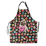 Ice Cream Dog Bib Apron - Donuts Pug Kitchen Apron Adjustable Funny Water Resistant Cartoon Dog Cake Print Kitchen Aprons for Cooking Grill and Baking Adult Chef Aprons with Adjustable Neck Strap