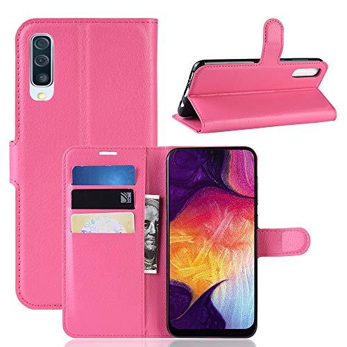 MISKQ Cover per Samsung Galaxy A30s,Fondina a Portafoglio Clamshell,Custodia per Cellulare a Prova di Cadute,Custodia in Silicone(Rosa Rossa)