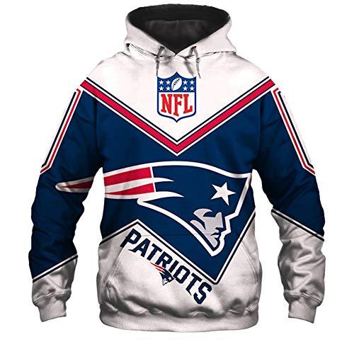 SryWj NFL-Kapuzenpullover, Patriots-Anhänger, 3D-Gedruckter, gefärbter Pullover, geeignete Kleidung für Männer und Frauen