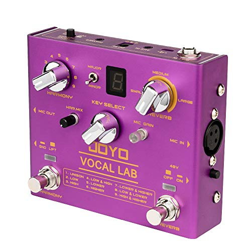 JOYO Vocal Lab R-16 R Series Vocal Harmony Effect Pedal 9 Vocal Harmony Multi Effects fit with Dynamic Microphone for Singing (R-16)