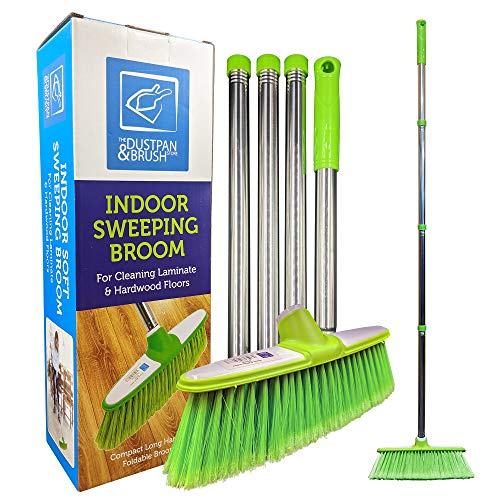 Soft Broom Indoor Sweeping Broom Brush with Stainless Steel Handle - The...
