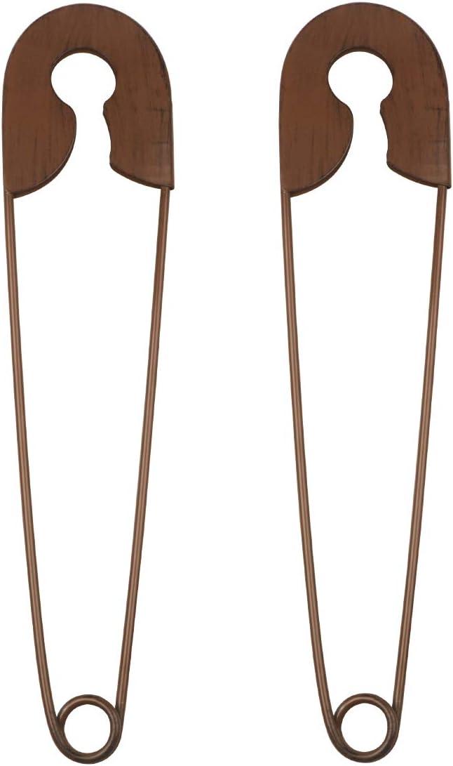 YIYA 2PCS Metal Safety Pins Decor Rustic Safety Pins Wall Art De