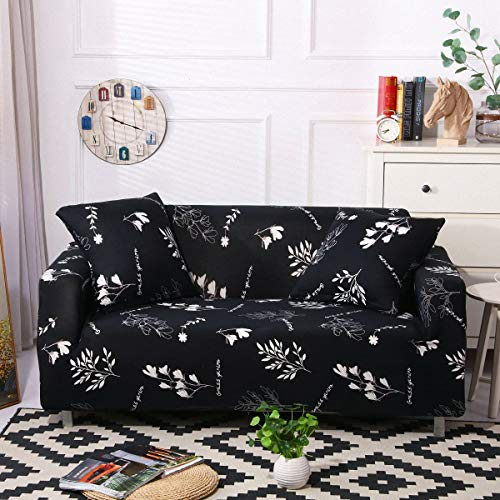 Stretch Sofa Slipcover Fitted Furniture Protector Print Sofa Cover Stylish Couch Cover with 2 Pillow Cases for Loveseats/Sofas/Sectional Couches,White Leaf-Black