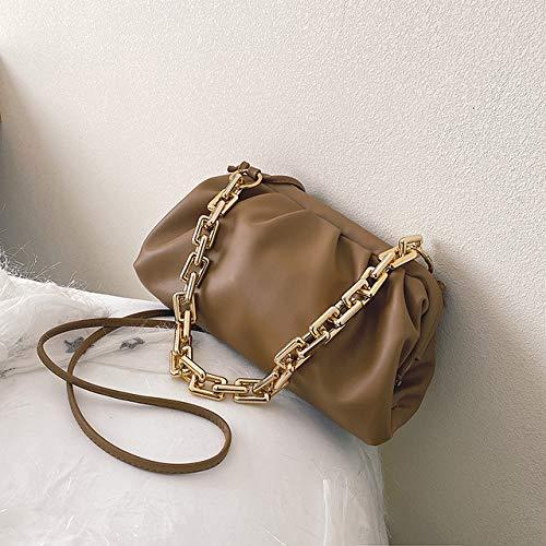 Mdsfe Goldkette Umhängetaschenfür Frauen 2020 EinfarbigeLuxustascheDamenCrossbody Messenger Handtaschen Lady Party Clutch - Khaki