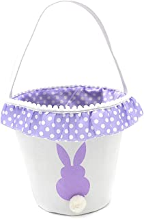 Easter Bunny Basket Cotton Lining Easter Bucket Bag for Easter Egg Hunt Easy to Monogram (Purple)