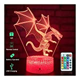 Dragon 3D Night Light for Kids, Dragon Toys with Touch & Remote Control and 16 Colors Changing Dragon Lamp, The Best Birthday Christmas Dragon Gifts for Boys and Girls Toys