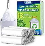 13 Gallon Trash Bags Biodegradable, Tall Kitchen Drawstring Trash Bags 13 Gallon Garbage Bags White Recyclable Can Liners for Kitchen, Garden, Office (100 Count)