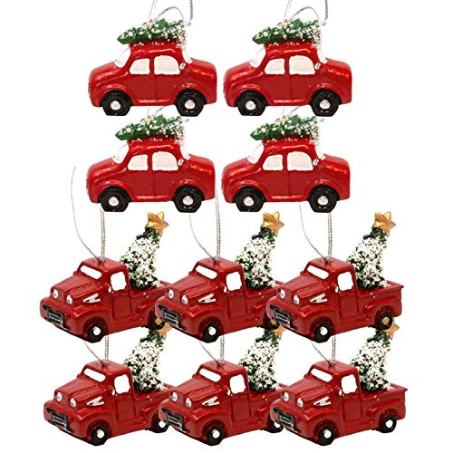 BANBERRY DESIGNS Red Truck Christmas Decorations Set of 10 - Pickup Trucks and Cars Carrying Christmas Trees for The Holidays - Vintage Farmhouse Christmas Ornaments - Approx. 2 Inches
