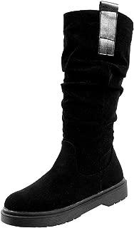 ELEEMEE Women Flat Slouch Boots Pull On