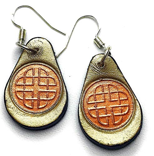 Sage Green Leather Bronze Celtic Knot Earrings