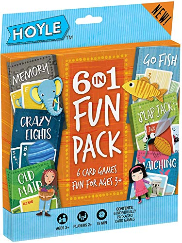 Hoyle Card Games for Kids 6 in 1 Fun Pack – Memory, Crazy Eights, Old Maid, Go Fish, Slap Jack and Matching