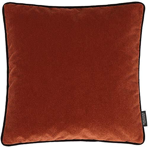 Rohleder Home Collection Kissen - Cloud - Tabasco - 40 x 40 cm - Dicht gewebtes Samtkissen mit farblich passender Paspel - Rost und Schwarz - Made in Germany