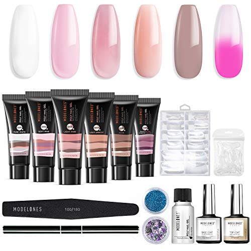 Modelones Poly Nail Gel Kit Verbesserung der Temperatur Builder Farbwechsel Acryl-Erweiterung mit Slip Solution Trial Professioneller Techniker All-in-One Französisch Kit