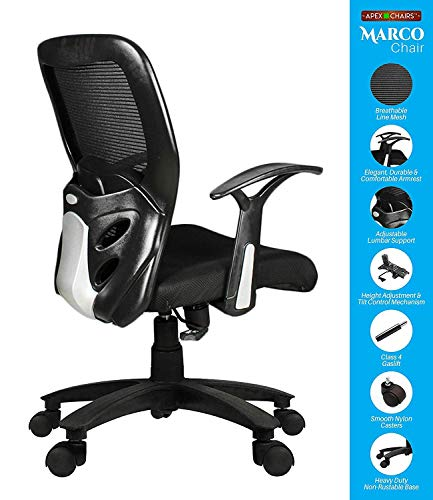 SAVYA HOME APEX Chairs MARCOZY Star Base Medium Back Office Chair, Standard, Black
