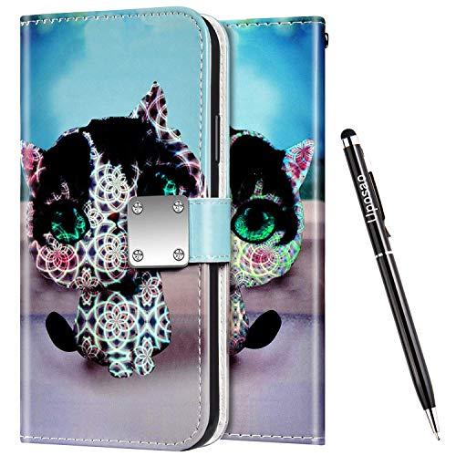 Uposao Kompatibel mit Samsung Galaxy S9 Plus Hülle Leder Handyhülle Bunt Glänzend Bling Glitzer Klapphülle Flip Case Wallet Schutzhülle Brieftasche Klapphülle Tasche Kartenfächer,Cartoon Katze