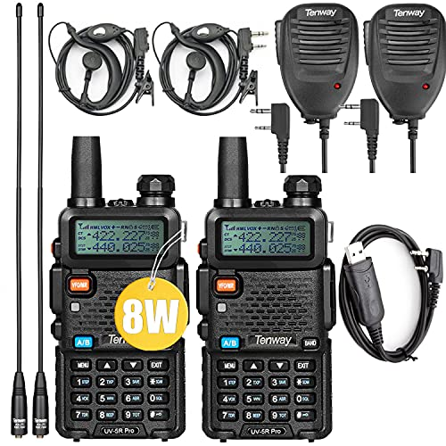 Ham Radio UV-5R Pro 8W Dual Band Two Way Radio with Handheld Speaker Mic and NA-771 Antenna 2Pack and Programming Cable