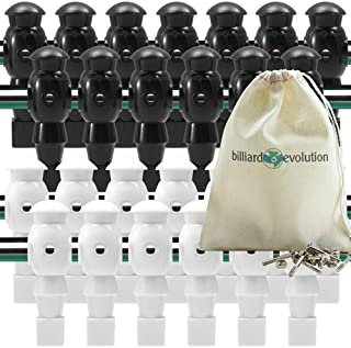 Billiard Evolution 26 White and Black Foosball Men with Free Screws and Nuts