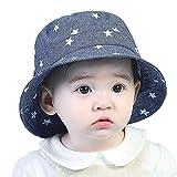 GEMVIE Niños Sombrero Pescador de Bebé Sol Protección Algódon Unisexo Gorro Ajustable Plegable Estapado Estrella Verano UV Hat Niña (Azul Oscuro, 3-6meses)