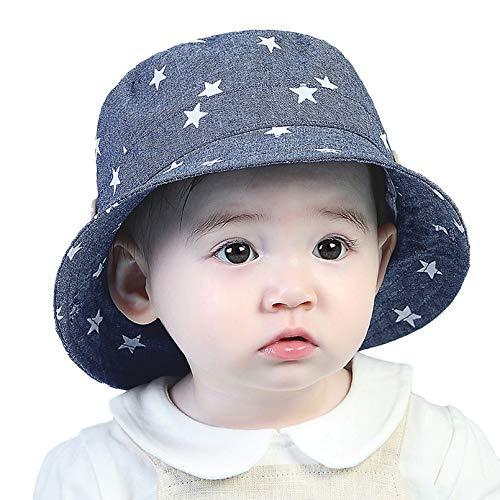 GEMVIE Niños Sombrero Pescador de Bebé Sol Protección Algódon Unisexo Gorro Ajustable Plegable Estapado Estrella Verano UV Hat Niña (Azul Oscuro, 6-12meses)