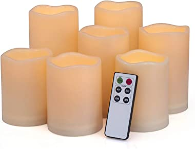 "Flameless Candles, Led Candles,Battery Operated Candles Electric Set of 7(H 4""4""4""5""5""6""6"" x D 3"") Ivory Resin Candles with Remote Timer Waterproof Outdoor Indoor Candles(Made of Plastic)"