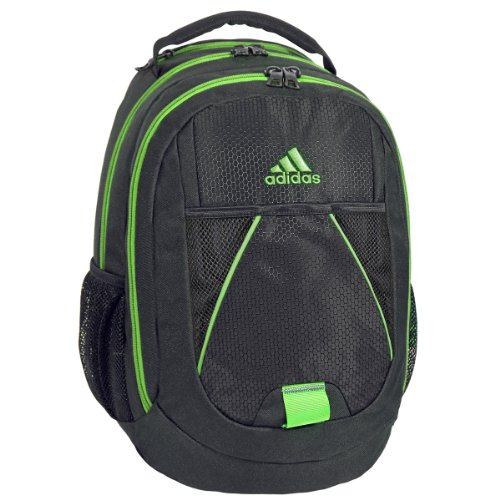 adidas Dillon Backpack, Black/Solar Green, 17 x 12 x 11-Inch