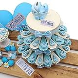 Gastgeschenk-Torte für Geburt, Babyflasche und Kinderwagen, Magnet, 35 Scheiben