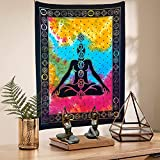 FabQual Small Tapestry under 10 Dollars - Indie Tapestry Hippie Spiritual Tapestry Colorful Cute Purple Rainbow Cool Tapestry Hippy Cheap Tie Dye Tapestry Chakra Tapestry Meditation Poster (30x40 in)