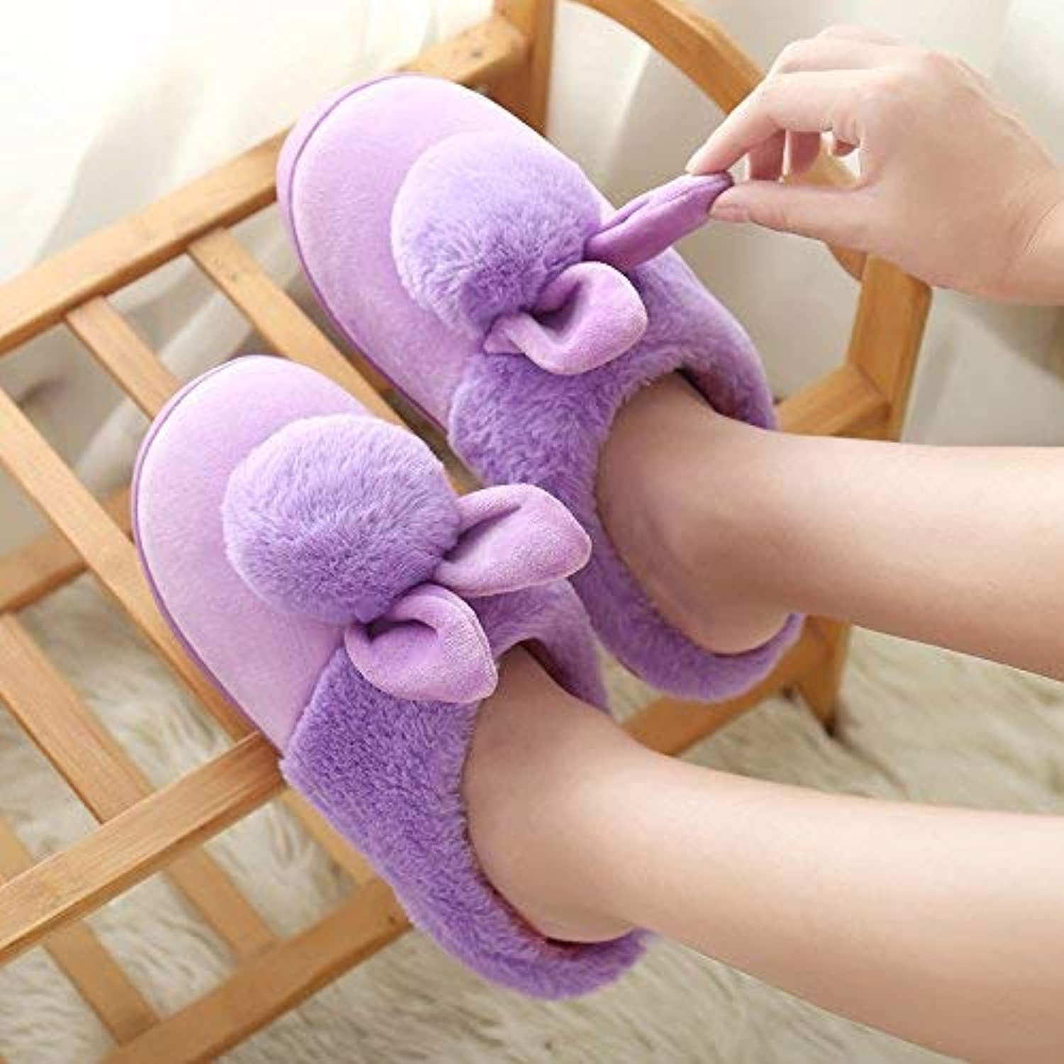Lady Slippers Women 's Home Cotton Slippers Indoor Non Slip Keep Warm Slippers Small for Women Cute Ball Purple Slippers